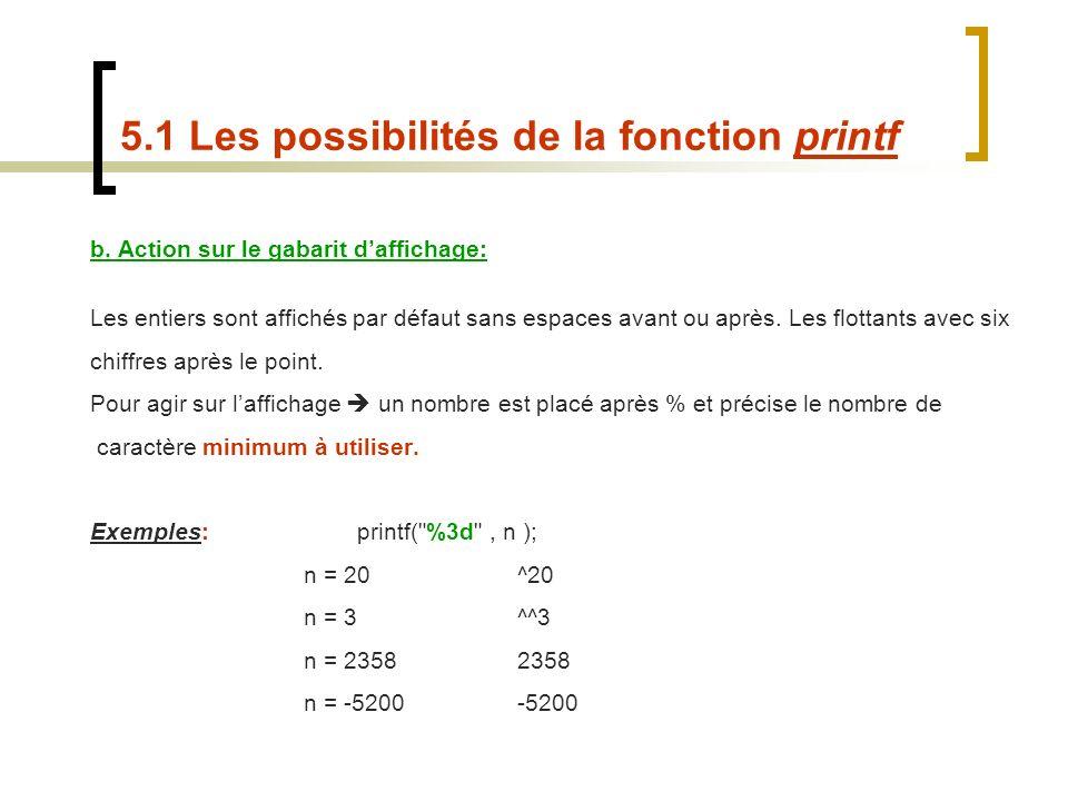 b. Action sur le gabarit daffichage: Les entiers sont affichés par défaut sans espaces avant ou après. Les flottants avec six chiffres après le point.