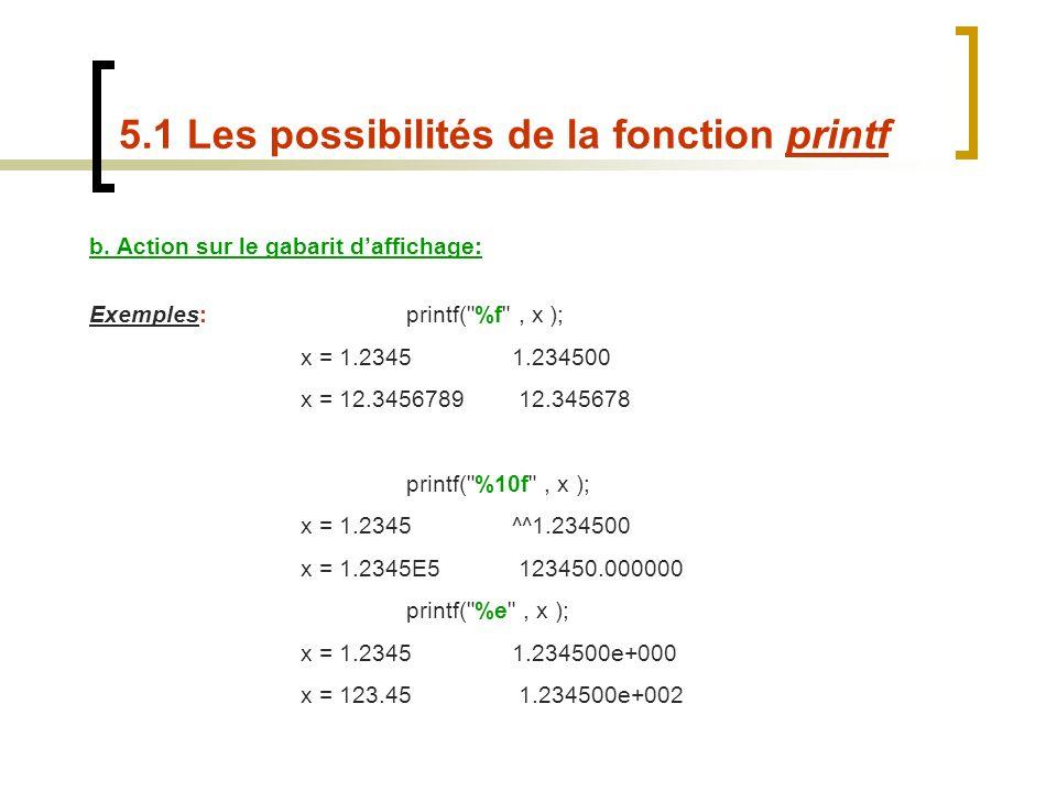 b. Action sur le gabarit daffichage: Exemples:printf(