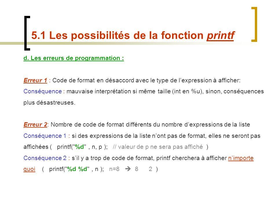 d. Les erreurs de programmation : Erreur 1 : Code de format en désaccord avec le type de lexpression à afficher: Conséquence : mauvaise interprétation