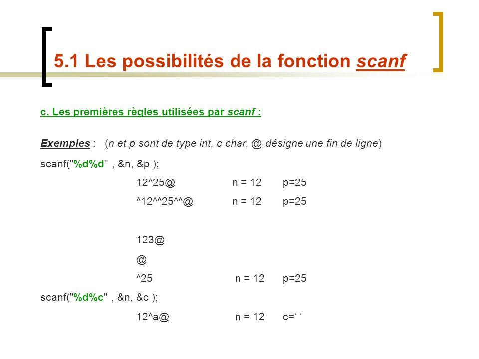 c. Les premières règles utilisées par scanf : Exemples : (n et p sont de type int, c char, @ désigne une fin de ligne) scanf(