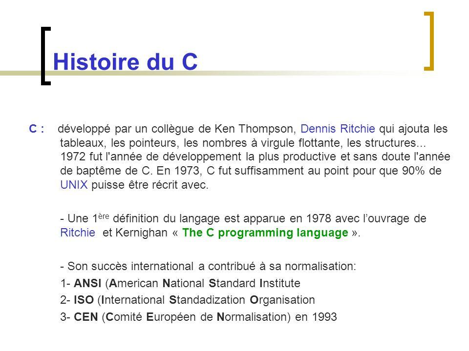 Histoire du C C : développé par un collègue de Ken Thompson, Dennis Ritchie qui ajouta les tableaux, les pointeurs, les nombres à virgule flottante, l