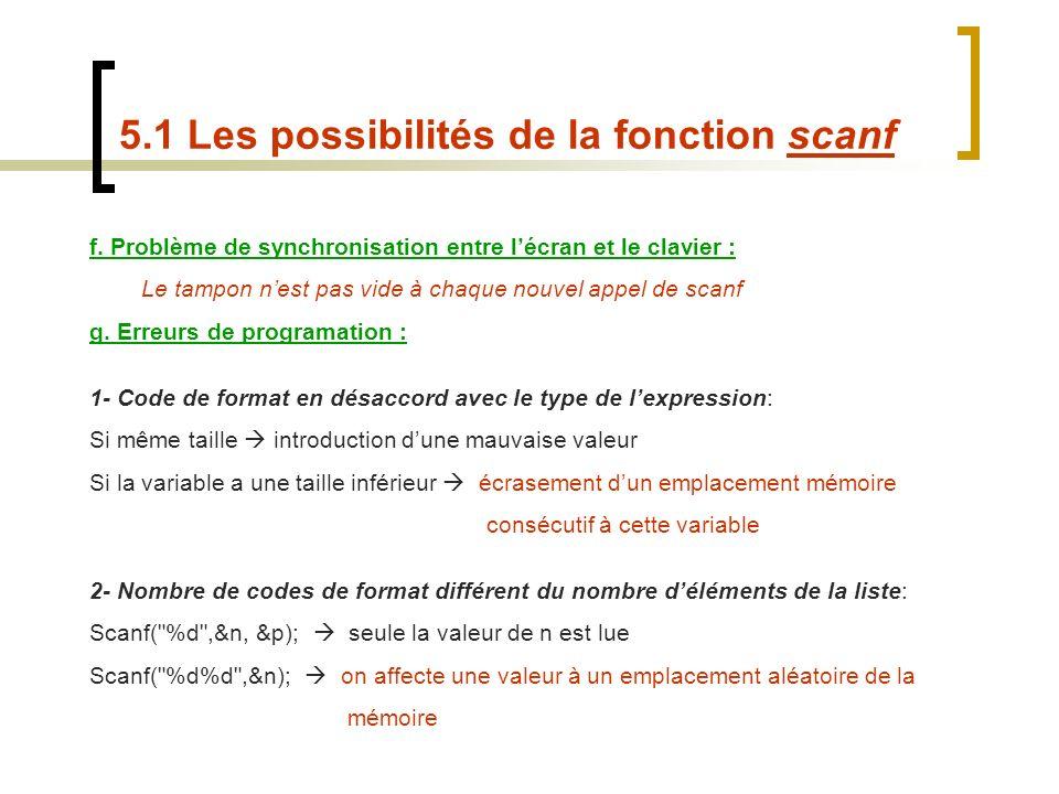 f. Problème de synchronisation entre lécran et le clavier : Le tampon nest pas vide à chaque nouvel appel de scanf g. Erreurs de programation : 1- Cod