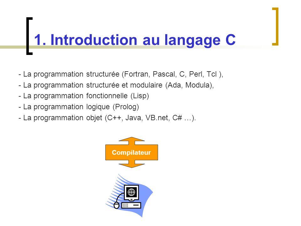 - La programmation structurée (Fortran, Pascal, C, Perl, Tcl ), - La programmation structurée et modulaire (Ada, Modula), - La programmation fonctionn