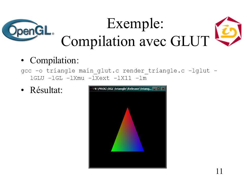 11 Exemple: Compilation avec GLUT Compilation: gcc -o triangle main_glut.c render_triangle.c -lglut - lGLU -lGL -lXmu -lXext -lX11 -lm Résultat: