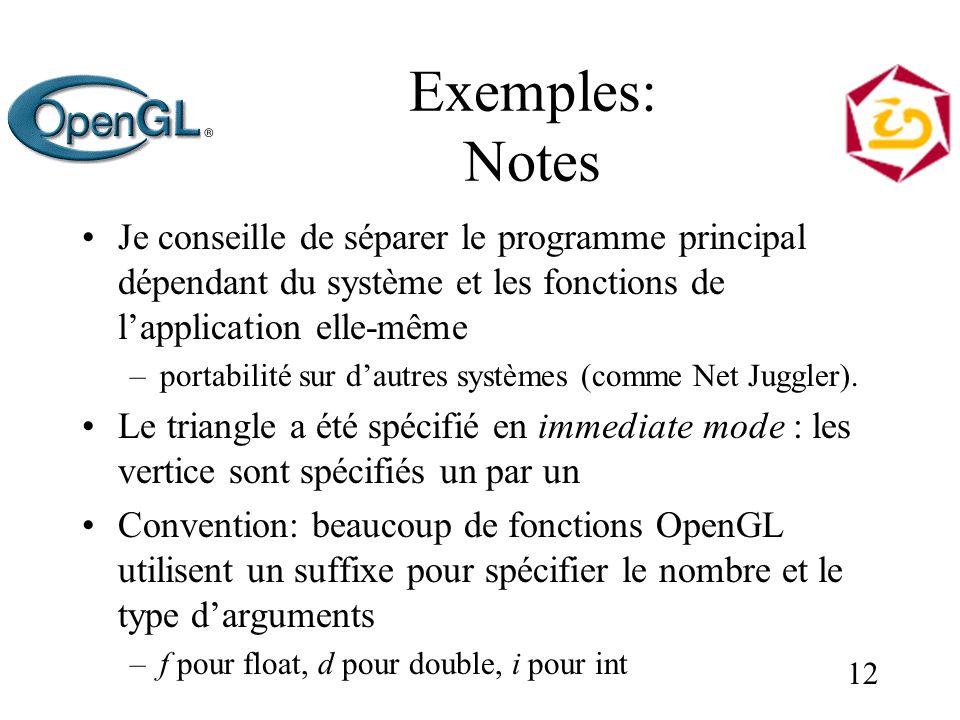 12 Exemples: Notes Je conseille de séparer le programme principal dépendant du système et les fonctions de lapplication elle-même –portabilité sur dautres systèmes (comme Net Juggler).