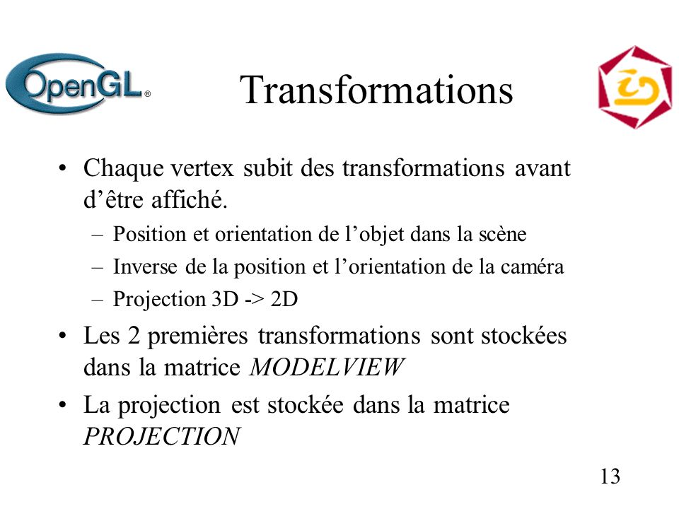 13 Transformations Chaque vertex subit des transformations avant dêtre affiché.