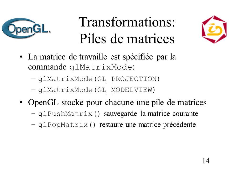 14 Transformations: Piles de matrices La matrice de travaille est spécifiée par la commande glMatrixMode : –glMatrixMode(GL_PROJECTION) –glMatrixMode(GL_MODELVIEW) OpenGL stocke pour chacune une pile de matrices –glPushMatrix() sauvegarde la matrice courante –glPopMatrix() restaure une matrice précédente