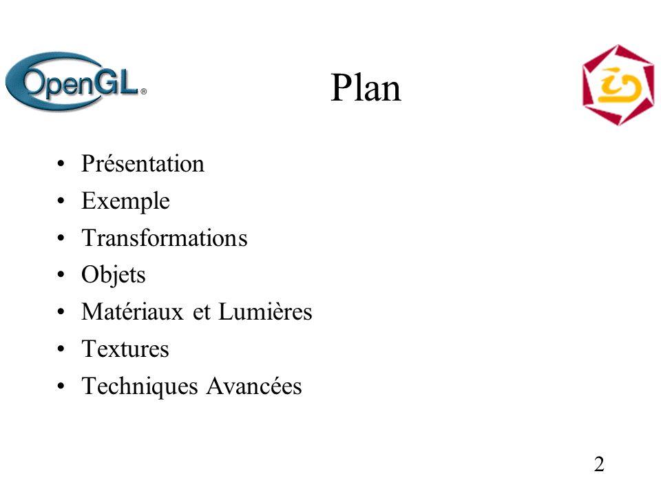2 Plan Présentation Exemple Transformations Objets Matériaux et Lumières Textures Techniques Avancées