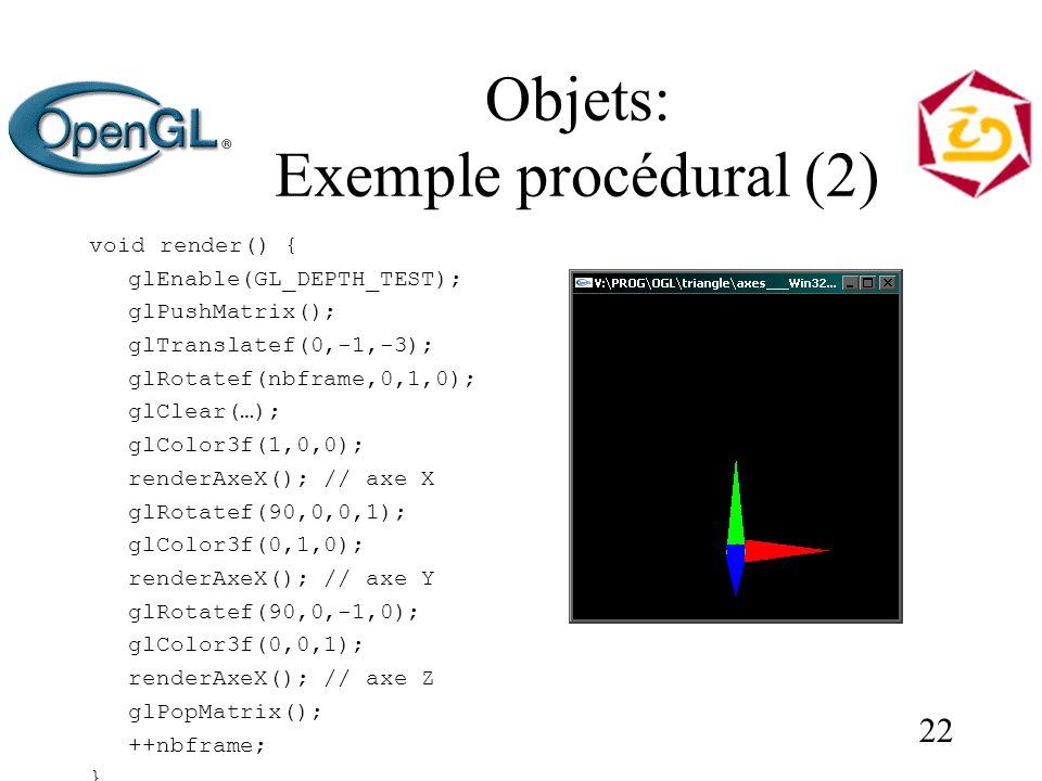 22 Objets: Exemple procédural (2) void render() { glEnable(GL_DEPTH_TEST); glPushMatrix(); glTranslatef(0,-1,-3); glRotatef(nbframe,0,1,0); glClear(…); glColor3f(1,0,0); renderAxeX(); // axe X glRotatef(90,0,0,1); glColor3f(0,1,0); renderAxeX(); // axe Y glRotatef(90,0,-1,0); glColor3f(0,0,1); renderAxeX(); // axe Z glPopMatrix(); ++nbframe; }