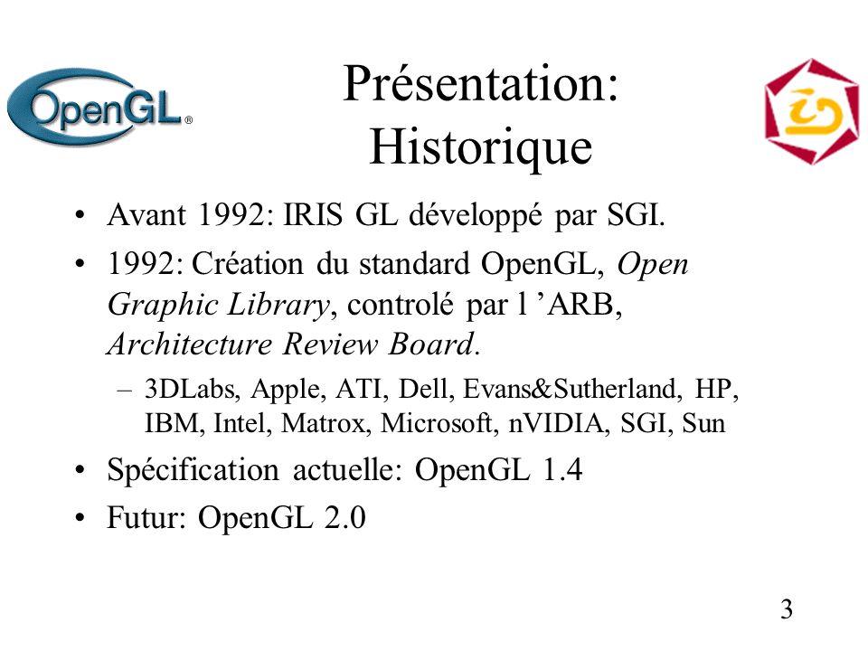 3 Présentation: Historique Avant 1992: IRIS GL développé par SGI. 1992: Création du standard OpenGL, Open Graphic Library, controlé par l ARB, Archite