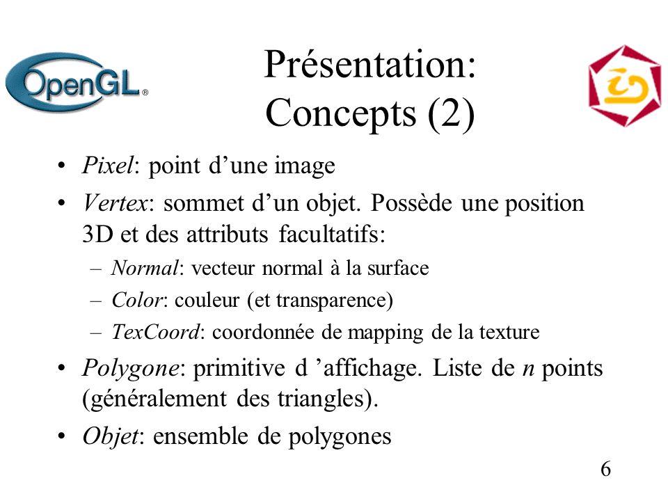 6 Présentation: Concepts (2) Pixel: point dune image Vertex: sommet dun objet. Possède une position 3D et des attributs facultatifs: –Normal: vecteur