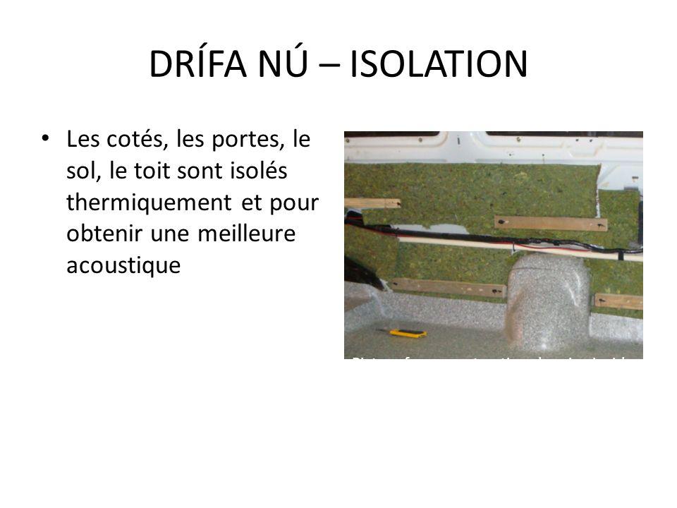 Les cotés, les portes, le sol, le toit sont isolés thermiquement et pour obtenir une meilleure acoustique DRÍFA NÚ – ISOLATION Picture from constructi