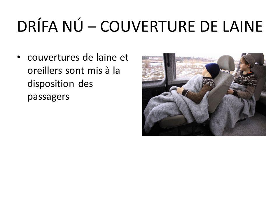 couvertures de laine et oreillers sont mis à la disposition des passagers DRÍFA NÚ – COUVERTURE DE LAINE