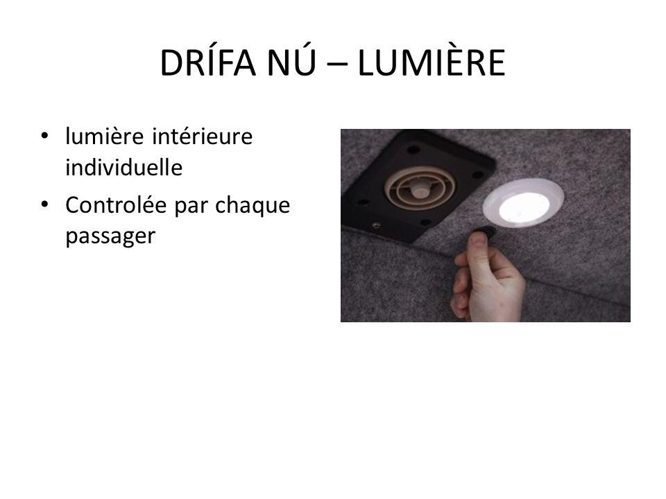 lumière intérieure individuelle Controlée par chaque passager DRÍFA NÚ – LUMIÈRE