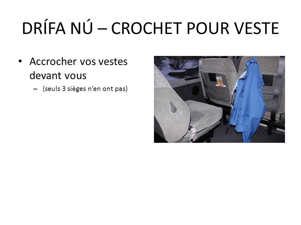 Accrocher vos vestes devant vous – (seuls 3 sièges nen ont pas) DRÍFA NÚ – CROCHET POUR VESTE