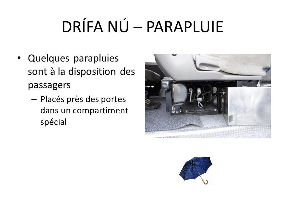 Quelques parapluies sont à la disposition des passagers – Placés près des portes dans un compartiment spécial DRÍFA NÚ – PARAPLUIE
