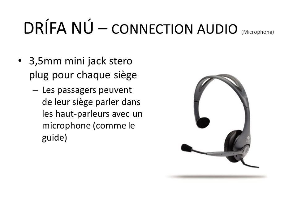 3,5mm mini jack stero plug pour chaque siège – Les passagers peuvent de leur siège parler dans les haut-parleurs avec un microphone (comme le guide) D