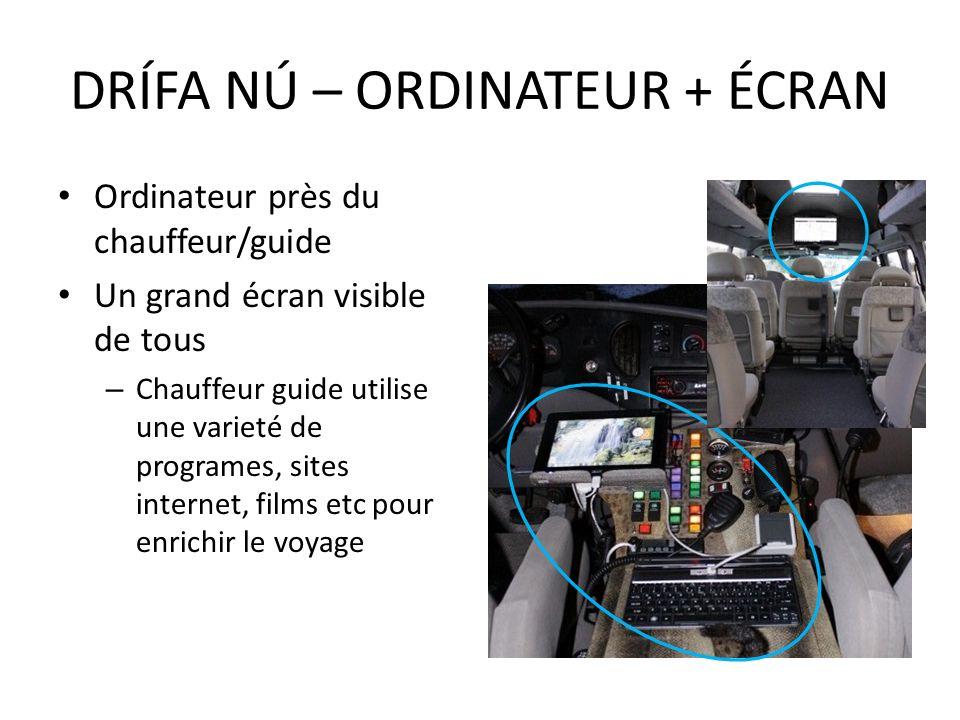 Ordinateur près du chauffeur/guide Un grand écran visible de tous – Chauffeur guide utilise une varieté de programes, sites internet, films etc pour e