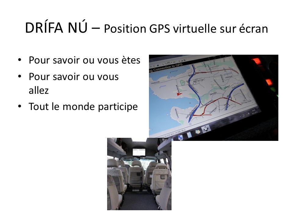 Pour savoir ou vous ètes Pour savoir ou vous allez Tout le monde participe DRÍFA NÚ – Position GPS virtuelle sur écran
