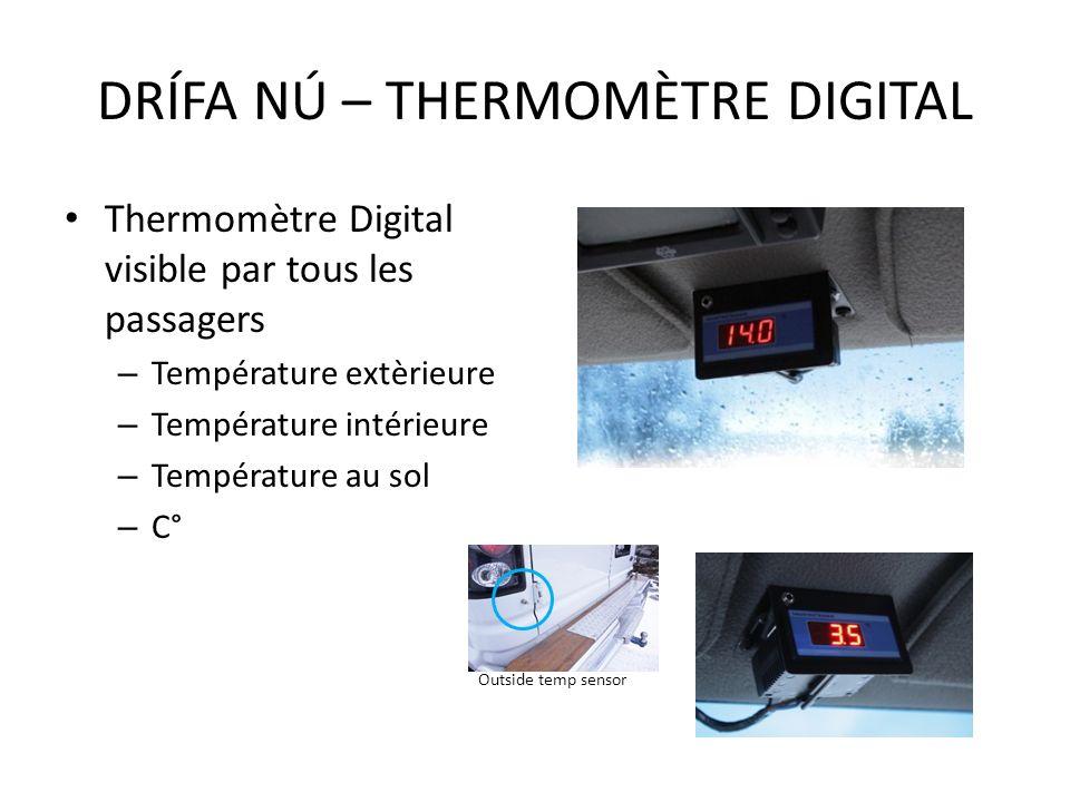 Thermomètre Digital visible par tous les passagers – Température extèrieure – Température intérieure – Température au sol – C° DRÍFA NÚ – THERMOMÈTRE