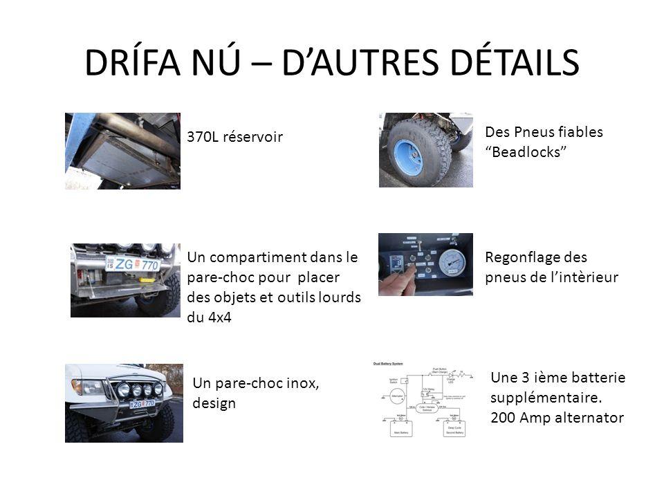 DRÍFA NÚ – DAUTRES DÉTAILS 370L réservoir Des Pneus fiables Beadlocks Un compartiment dans le pare-choc pour placer des objets et outils lourds du 4x4