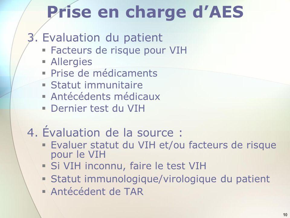 10 Prise en charge dAES 3. Evaluation du patient Facteurs de risque pour VIH Allergies Prise de médicaments Statut immunitaire Antécédents médicaux De