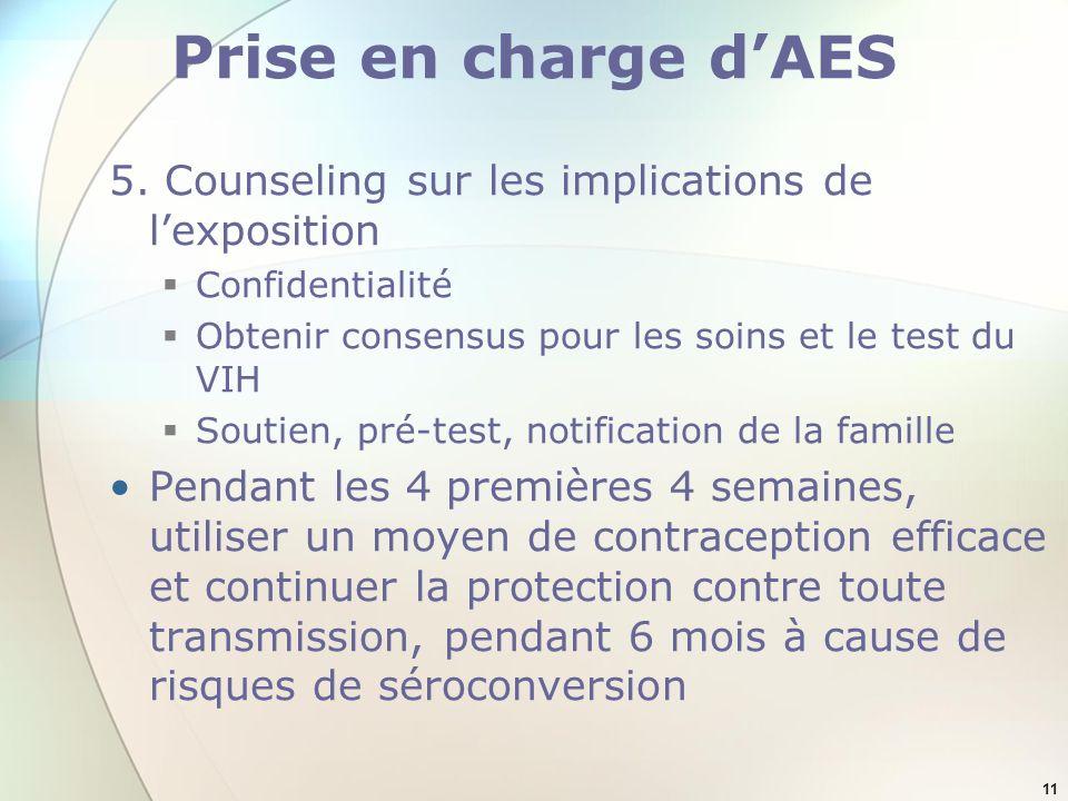 11 Prise en charge dAES 5. Counseling sur les implications de lexposition Confidentialité Obtenir consensus pour les soins et le test du VIH Soutien,
