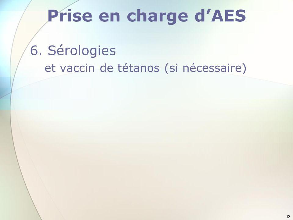 12 Prise en charge dAES 6. Sérologies et vaccin de tétanos (si nécessaire)