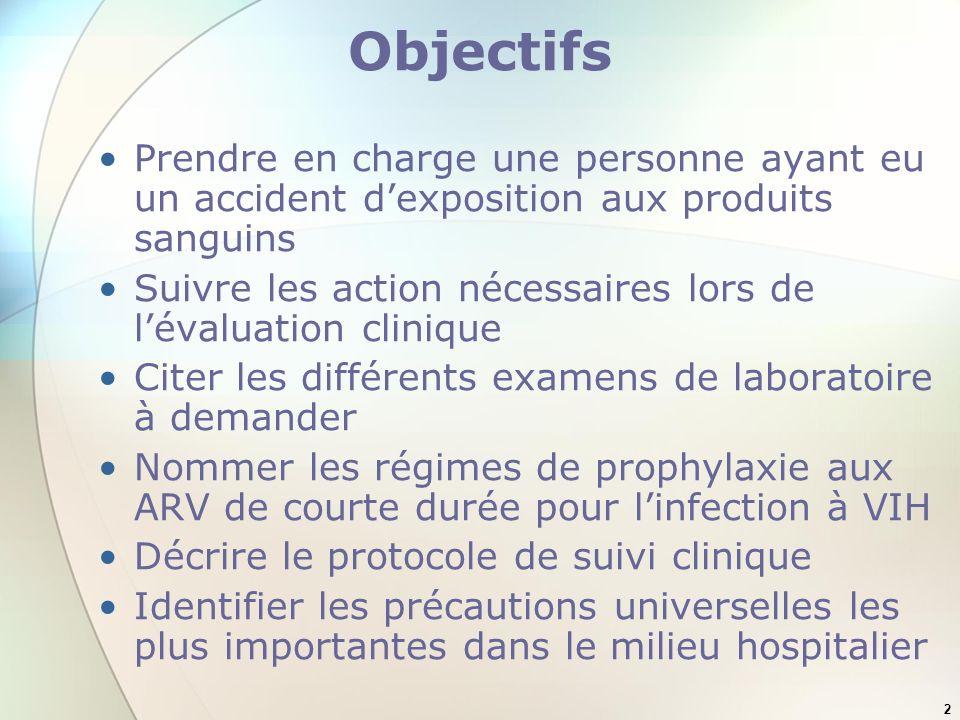2 Objectifs Prendre en charge une personne ayant eu un accident dexposition aux produits sanguins Suivre les action nécessaires lors de lévaluation cl