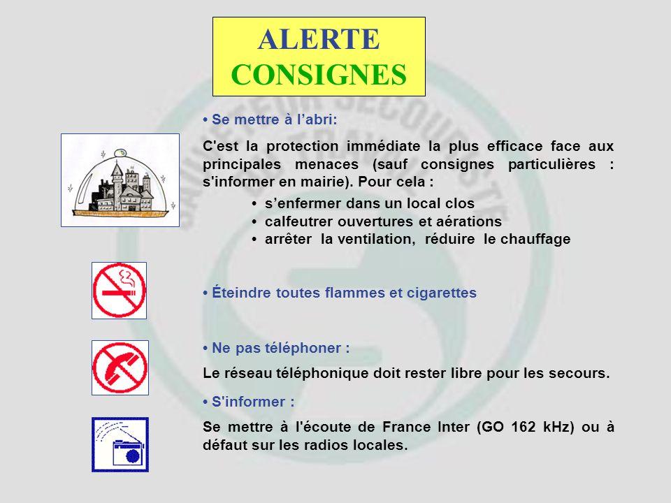 L'alerte est donnée par la sirène de la ville, de certains sites industriels ou à l'aide de véhicules équipés de haut parleur. Signal national d'alert