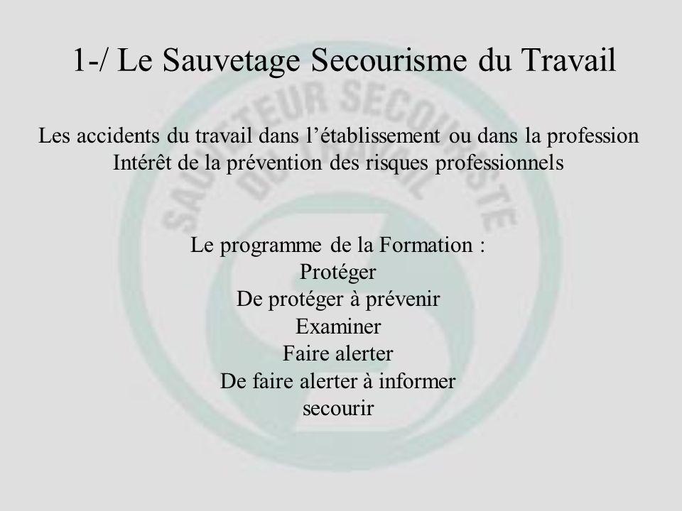 Programme de Formation des SAUVETEURS-SECOURISTES DU TRAVAIL La formation sadresse à un groupe de 4 à 10 personnes et sa durée est de 12 heures auxque