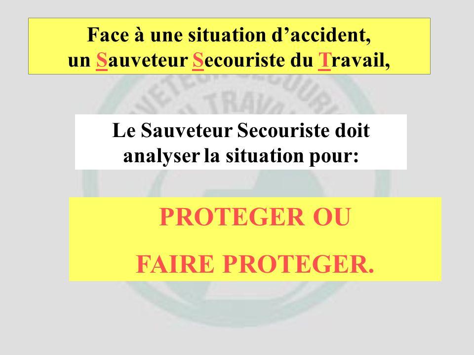 Face à une situation daccident, un Sauveteur Secouriste du Travail, Le Sauveteur Secouriste doit: ANALYSER LA SITUATION. POURQUOI ?