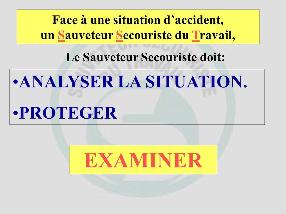 Face à une situation daccident, un Sauveteur Secouriste du Travail, Le Sauveteur Secouriste doit: ANALYSER LA SITUATION. PROTEGER ET ENSUITE ?
