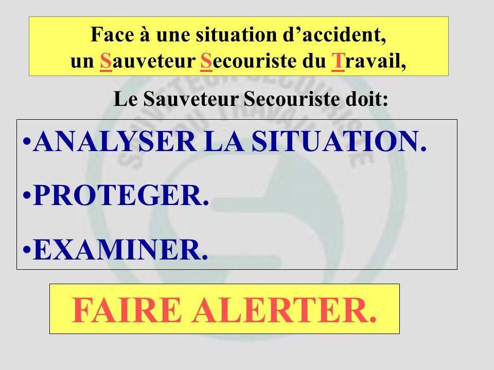 Face à une situation daccident, un Sauveteur Secouriste du Travail, Le Sauveteur Secouriste doit: ANALYSER LA SITUATION. PROTEGER. EXAMINER. ET ENSUIT