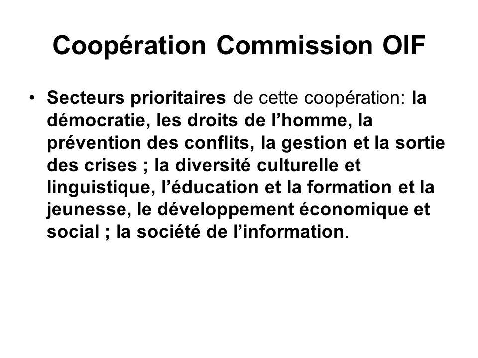Coopération Commission OIF Secteurs prioritaires de cette coopération: la démocratie, les droits de lhomme, la prévention des conflits, la gestion et la sortie des crises ; la diversité culturelle et linguistique, léducation et la formation et la jeunesse, le développement économique et social ; la société de linformation.