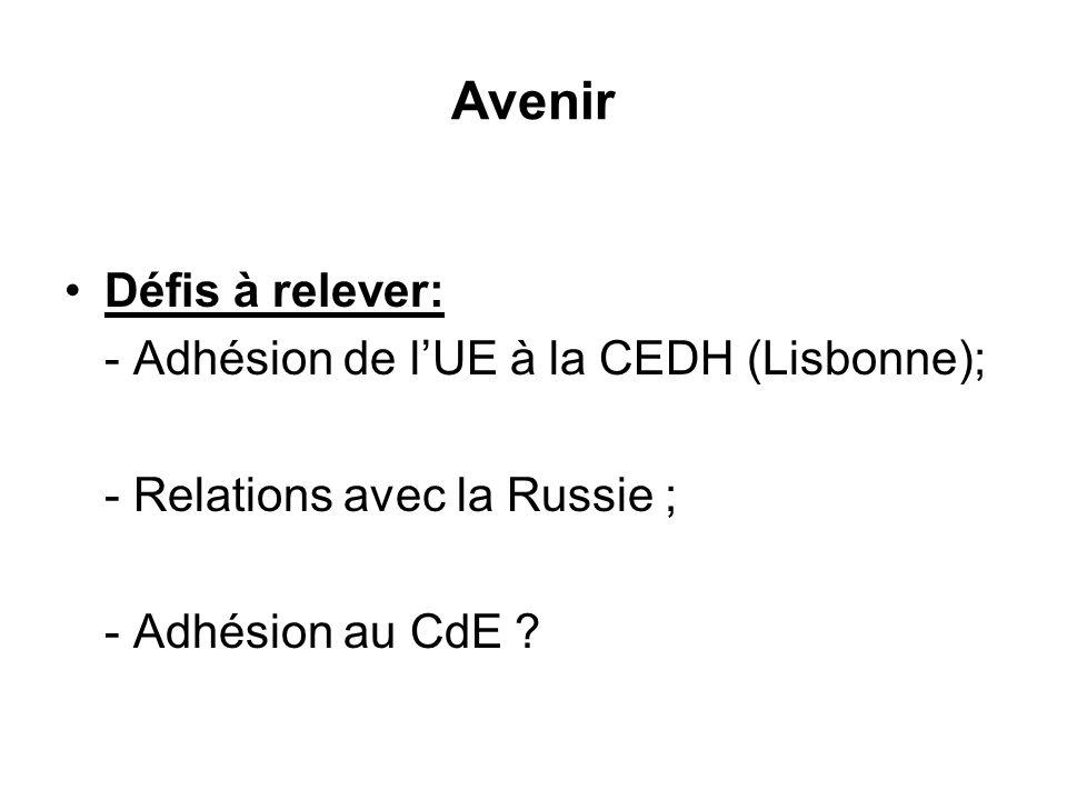 Avenir Défis à relever: - Adhésion de lUE à la CEDH (Lisbonne); - Relations avec la Russie ; - Adhésion au CdE