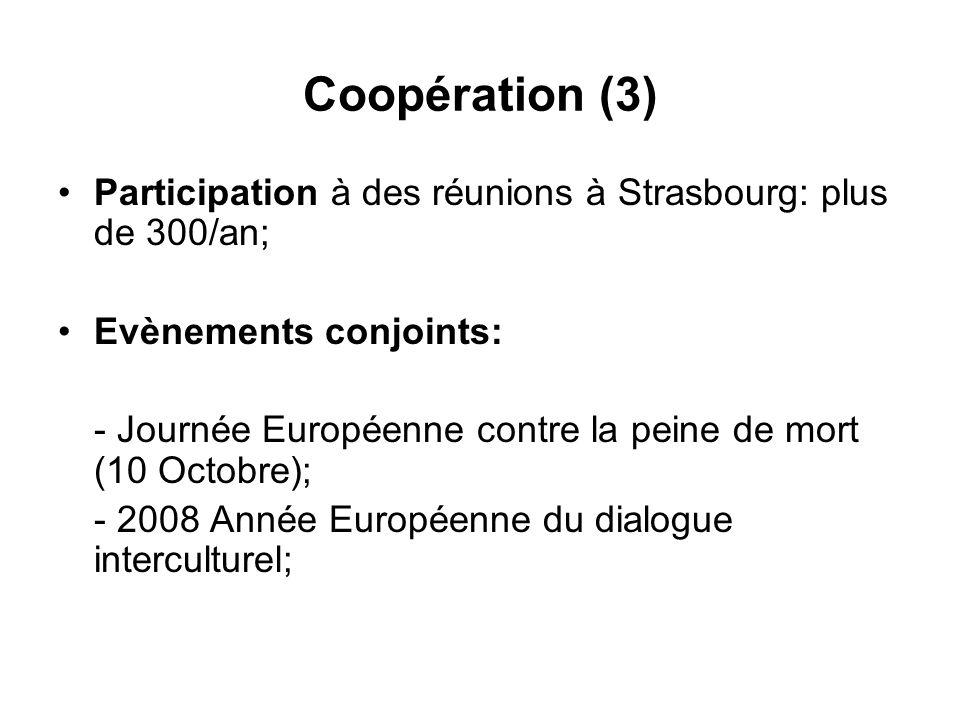 Coopération (3) Participation à des réunions à Strasbourg: plus de 300/an; Evènements conjoints: - Journée Européenne contre la peine de mort (10 Octobre); - 2008 Année Européenne du dialogue interculturel;