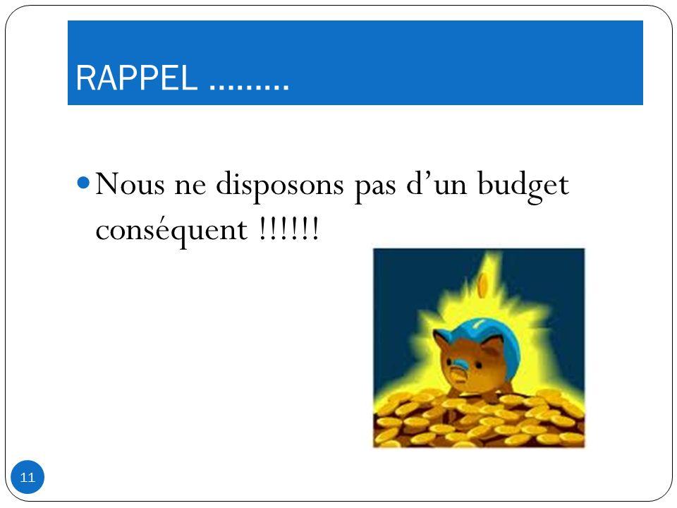 RAPPEL ……… Nous ne disposons pas dun budget conséquent !!!!!! 11