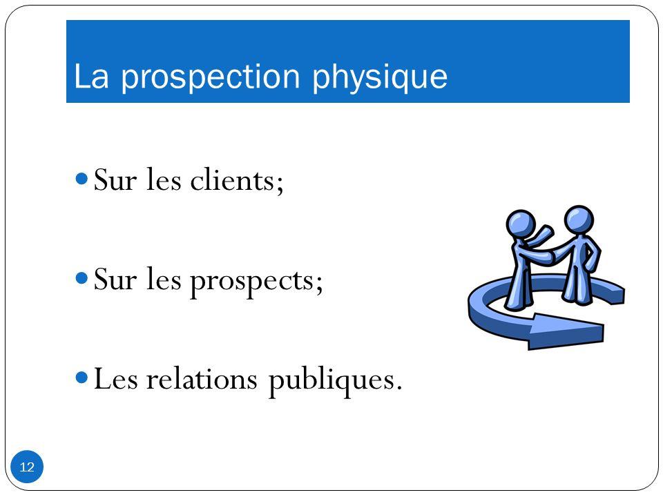 La prospection physique Sur les clients; Sur les prospects; Les relations publiques. 12