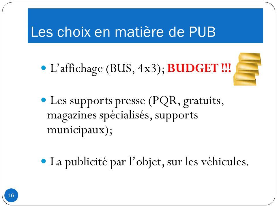 Les choix en matière de PUB Laffichage (BUS, 4x3); BUDGET !!.