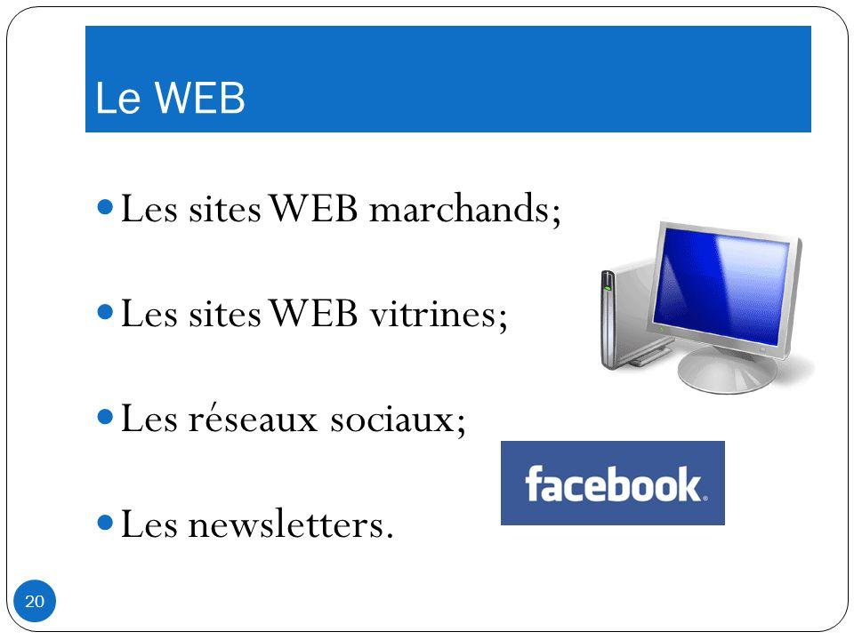 Le WEB Les sites WEB marchands; Les sites WEB vitrines; Les réseaux sociaux; Les newsletters. 20