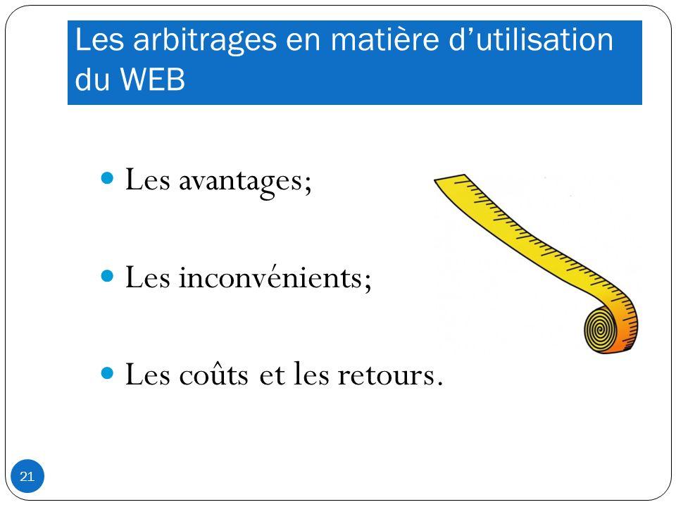 Les arbitrages en matière dutilisation du WEB Les avantages; Les inconvénients; Les coûts et les retours.