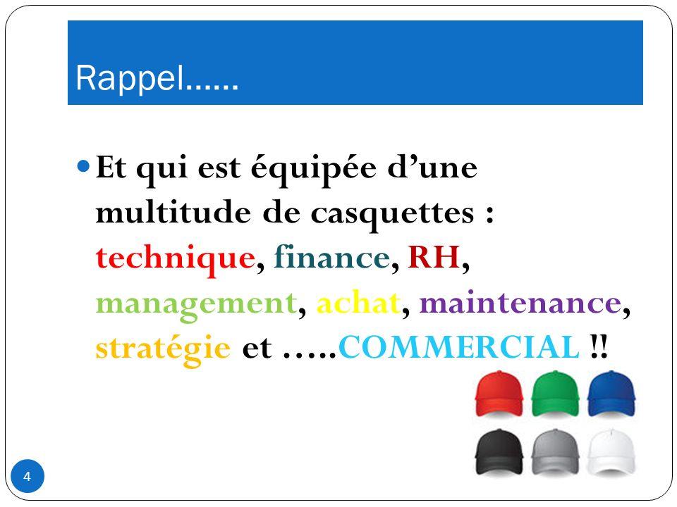 Rappel…… Et qui est équipée dune multitude de casquettes : technique, finance, RH, management, achat, maintenance, stratégie et …..COMMERCIAL !.
