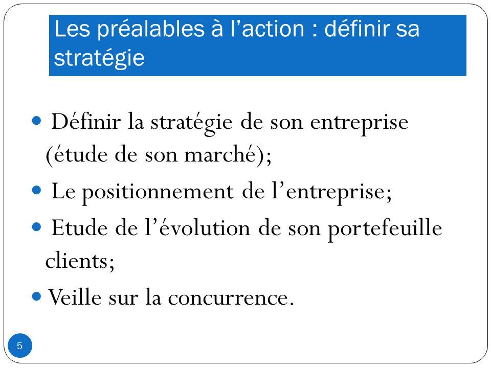 Les préalables à laction : définir sa stratégie Définir la stratégie de son entreprise (étude de son marché); Le positionnement de lentreprise; Etude de lévolution de son portefeuille clients; Veille sur la concurrence.