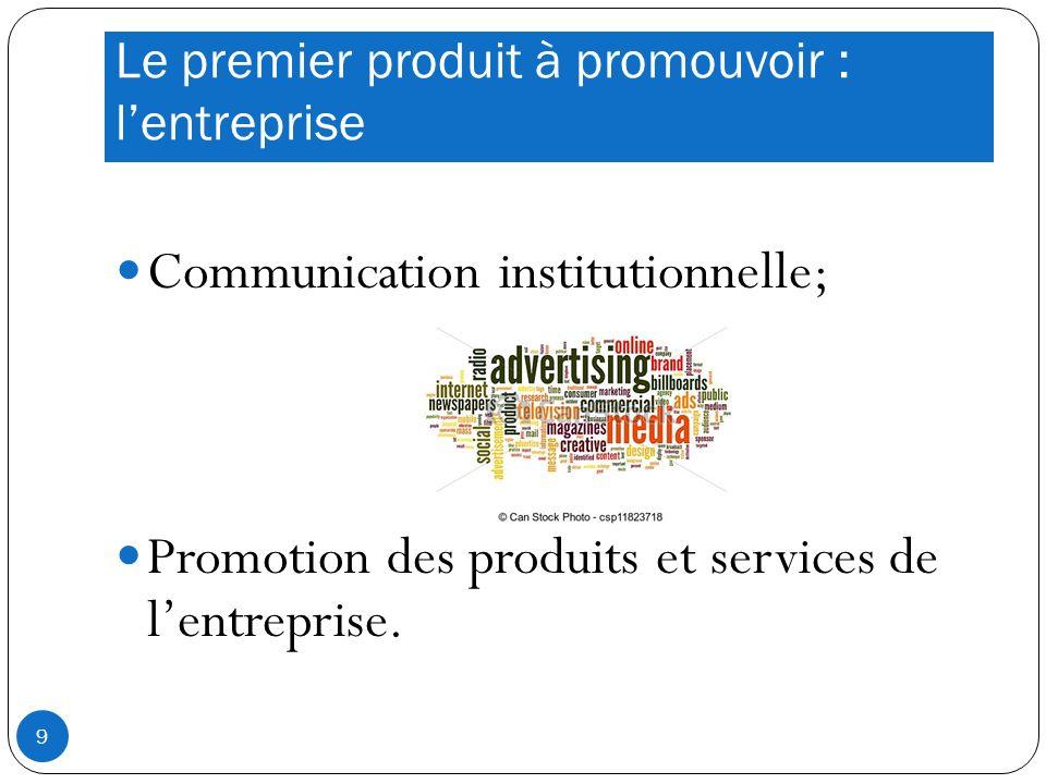 Le premier produit à promouvoir : lentreprise Communication institutionnelle; Promotion des produits et services de lentreprise.
