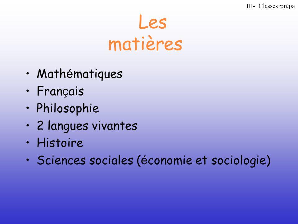 Les matières Math é matiques Fran ç ais Philosophie 2 langues vivantes Histoire Sciences sociales ( é conomie et sociologie) III- Classes prépa