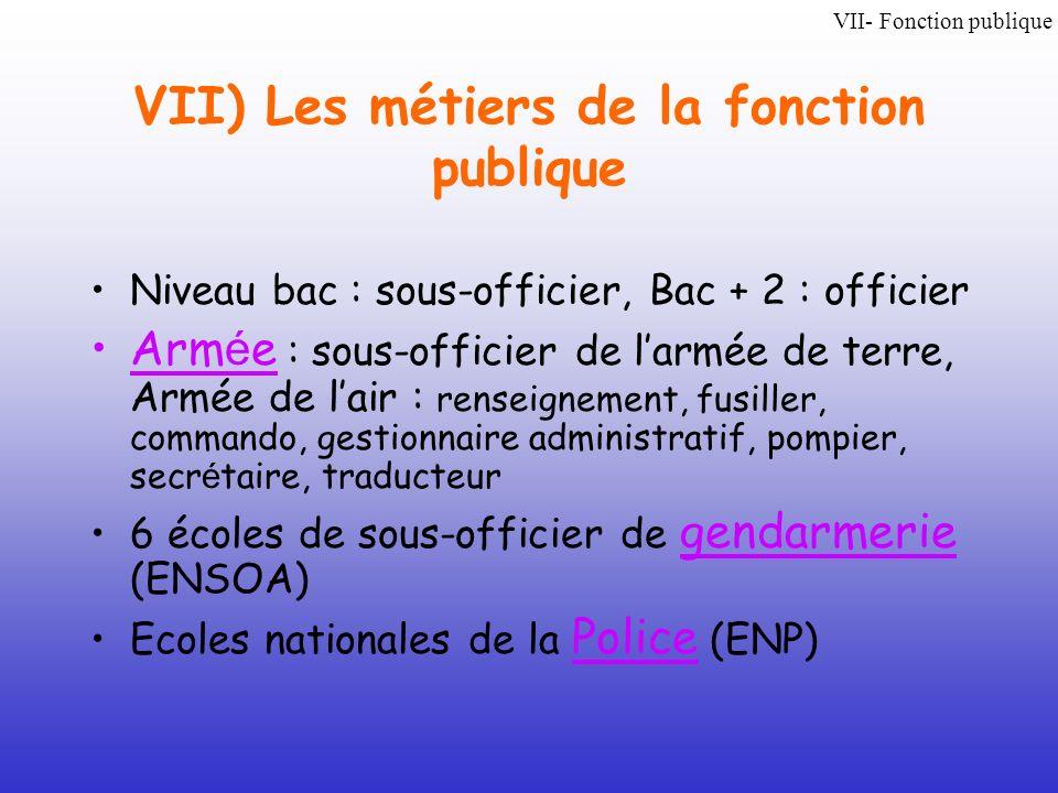 VII) Les métiers de la fonction publique Niveau bac : sous-officier, Bac + 2 : officier Arm é e : sous-officier de larmée de terre, Armée de lair : re