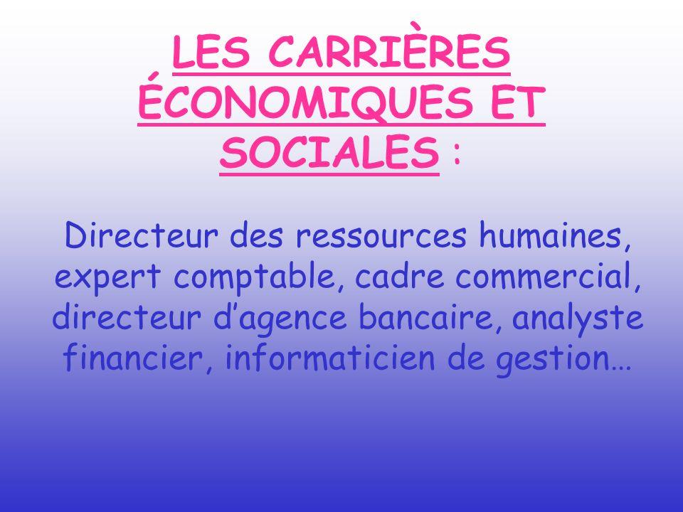 LES CARRIÈRES ÉCONOMIQUES ET SOCIALES : Directeur des ressources humaines, expert comptable, cadre commercial, directeur dagence bancaire, analyste fi