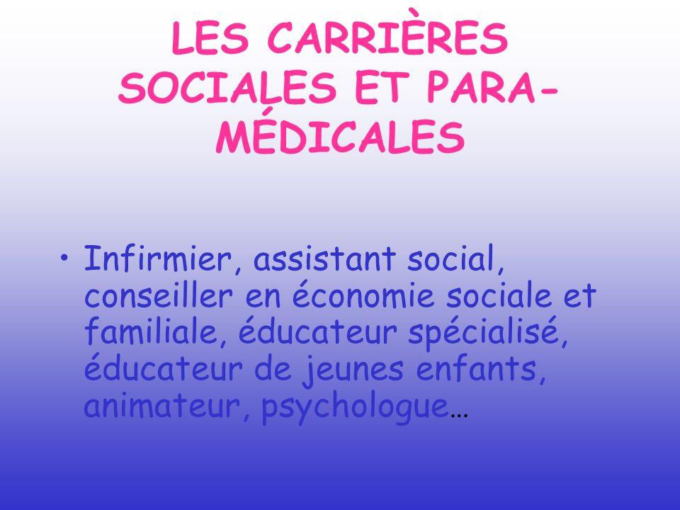 LES CARRIÈRES SOCIALES ET PARA- MÉDICALES Infirmier, assistant social, conseiller en économie sociale et familiale, éducateur spécialisé, éducateur de