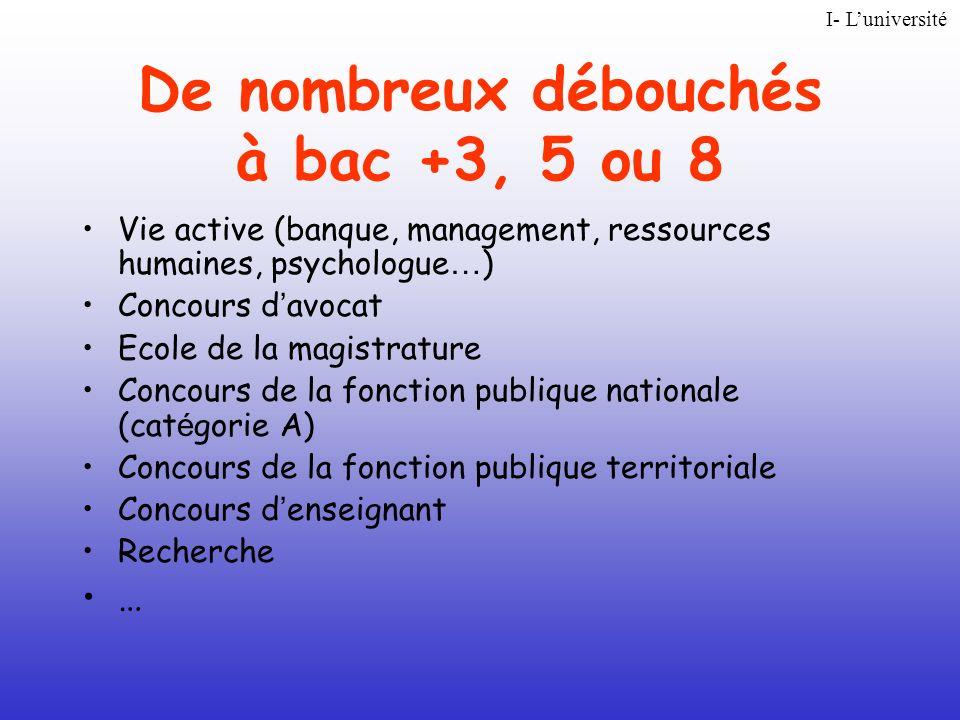 De nombreux débouchés à bac +3, 5 ou 8 Vie active (banque, management, ressources humaines, psychologue … ) Concours d avocat Ecole de la magistrature